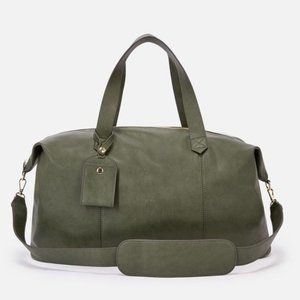 NWOT JustFab Olive Green Faux Leather Duffle Bag
